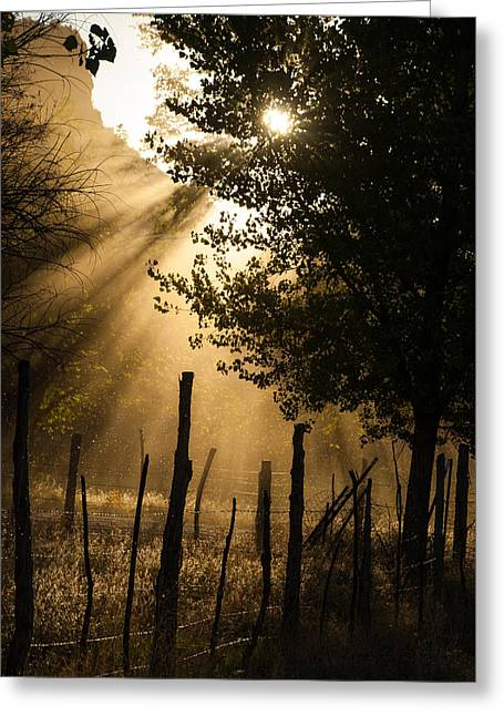 Robert Ford Greeting Cards - Sun Rays through Dust Grafton Ghost Town Rockville Utah Greeting Card by Robert Ford