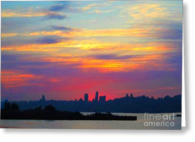 City Scapes Greeting Cards Greeting Cards - Sun Rise in the City Greeting Card by Becky Lupe