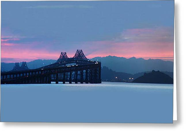 Tangerine Greeting Cards - Sun Rise San Pablo Bay Greeting Card by Stan Angel