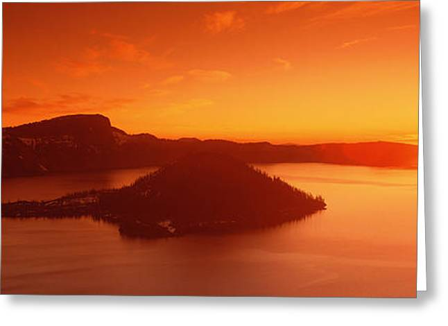 Crater Lake Sunset Greeting Cards - Sun Rising Over Crater Lake National Greeting Card by Panoramic Images