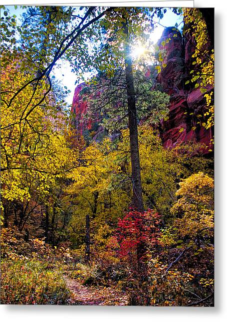 West Fork Greeting Cards - Sun rising over the Cliffs Greeting Card by Brian Lambert