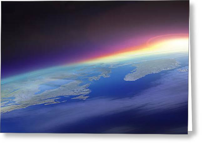 Global Communications Greeting Cards - Sun Rising Over The Earth Greeting Card by Panoramic Images