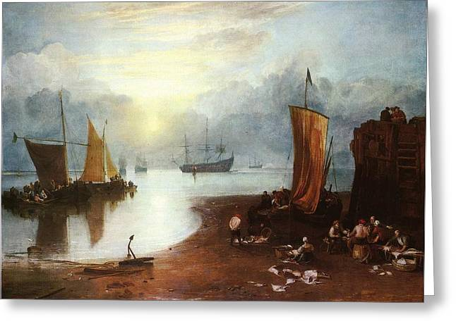 Painter Of Light Greeting Cards - Sun rising through Vagour Fishermen cleaning and selling fish Greeting Card by J M W Turner