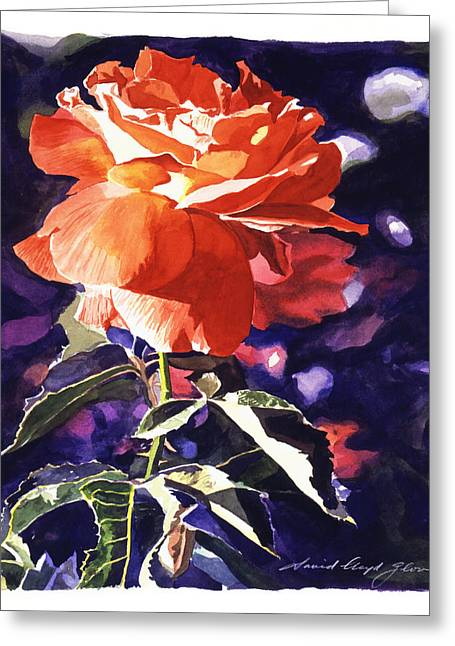 Orange Rose Greeting Cards - Sun Rose Greeting Card by David Lloyd Glover