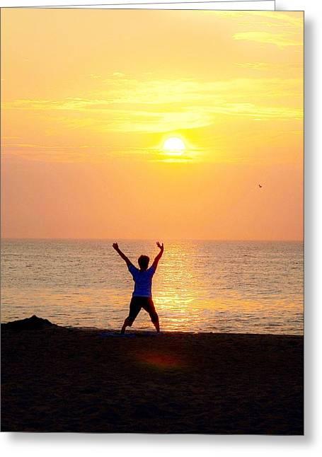 Sun Salutations Greeting Card by Kim Bemis