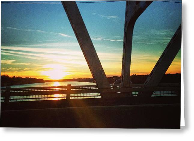 Tennessee River Mixed Media Greeting Cards - Sun Set Greeting Card by Andrew Henslee