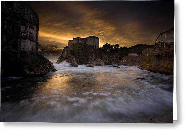 Dubrovnik Greeting Cards - Sun Set in Stone Greeting Card by Daniel Zrno