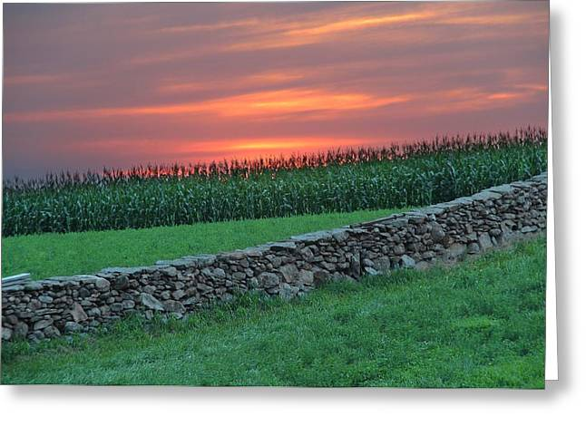 Griswold Connecticut Greeting Cards - Sun Set over Griswold Greeting Card by Andrea Galiffi