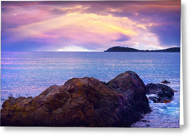 Atlantic Beaches Greeting Cards - Sun set over St. Thomas Greeting Card by Camille Lopez