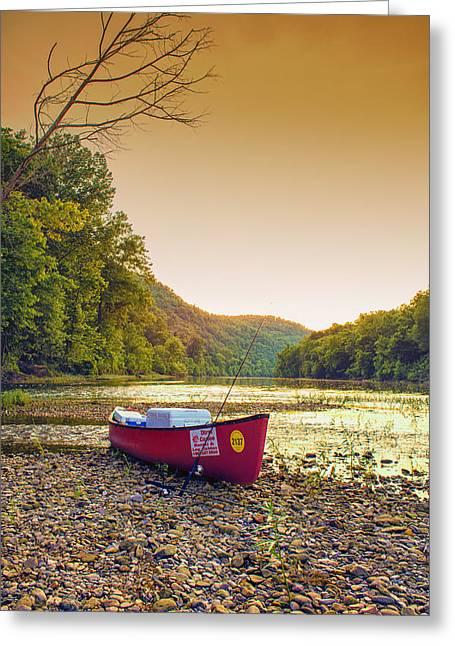 Sun Sets At Buffalo River Greeting Card by Bill Tiepelman