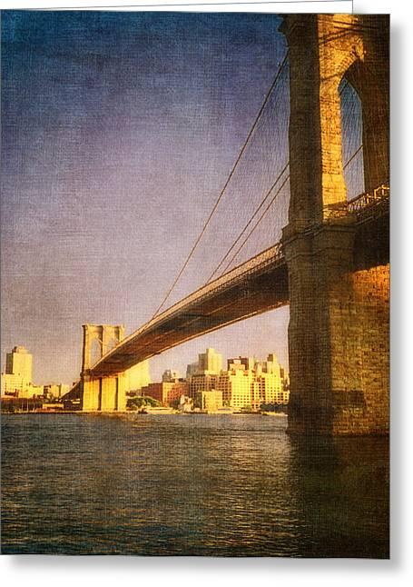 Lower East Side Greeting Cards - Sun sets on the Brooklyn Bridge Greeting Card by Joann Vitali
