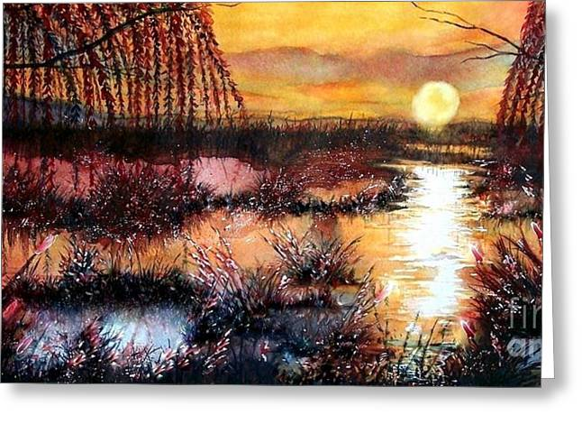 Reflection Of Sun In Clouds Greeting Cards - Sun sets on the marsh Greeting Card by Janine Riley