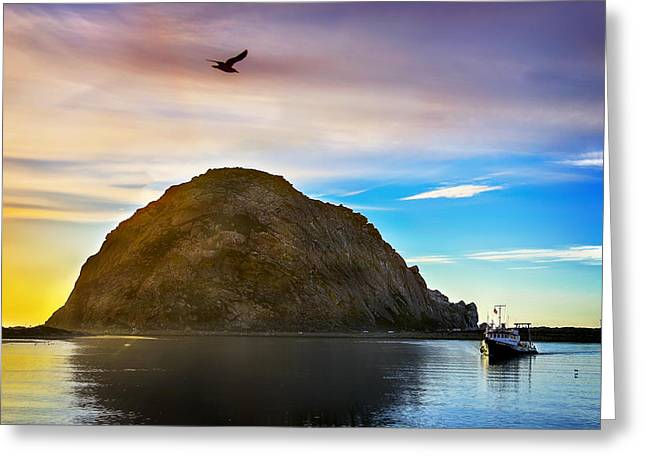 Morro Bay Greeting Cards - Sun Setting at Morro Bay Greeting Card by Camille Lopez