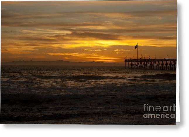 Santa Cruz Pier Greeting Cards - Sun Setting Behind Santa Cruz With Ventura Pier 01-10-2010 Greeting Card by Ian Donley