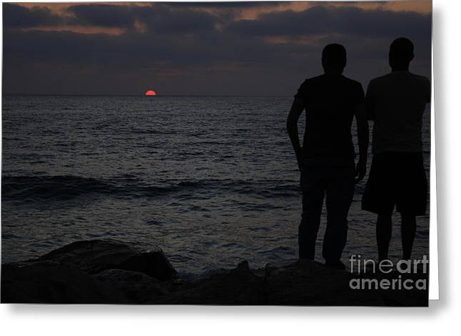 Yafo Greeting Cards - Sun setting Greeting Card by Guy Grobler