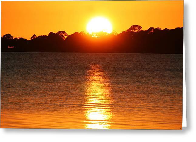 Cedar Key Greeting Cards - Sun Setting In Cedar Key Greeting Card by Catherine Harms