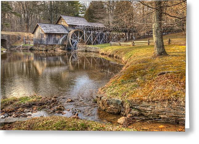 Grist Mill Greeting Cards - Sun Setting on Mabry Mill Greeting Card by Gregory Ballos