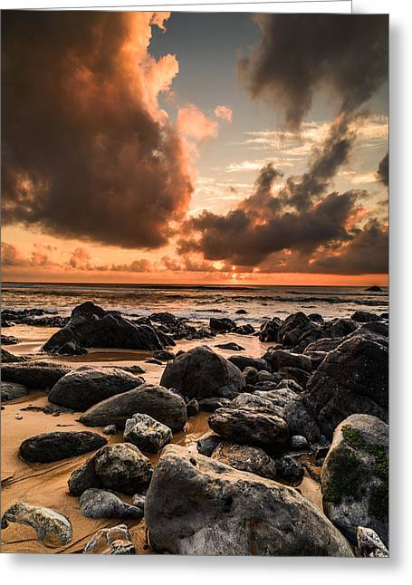 Colorful Cloud Formations Greeting Cards - Sun Setting On The Beach II Greeting Card by Marco Oliveira