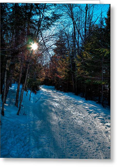 Snowy Roads Photographs Greeting Cards - Sun Setting on the Lock and Dam Trail Greeting Card by David Patterson