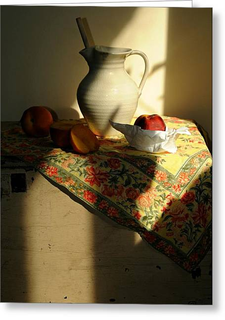 Still-life With Peaches Greeting Cards - Sun Shade Greeting Card by Diana Angstadt