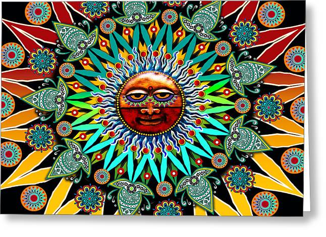 Sun Mixed Media Greeting Cards - Sun Shaman Greeting Card by Christopher Beikmann
