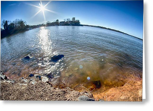 Lake Wylie Greeting Cards - Sun Shining Over Lake Wylie In North Carolina Greeting Card by Alexandr Grichenko