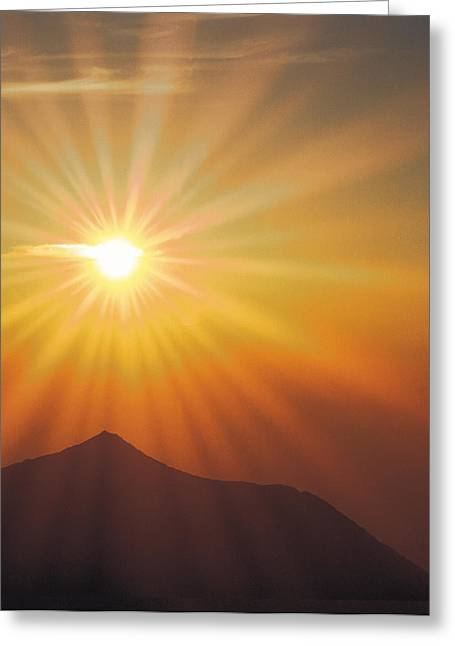 Computer Graphics Greeting Cards - Sun Shinning Over The Mountain Greeting Card by Panoramic Images