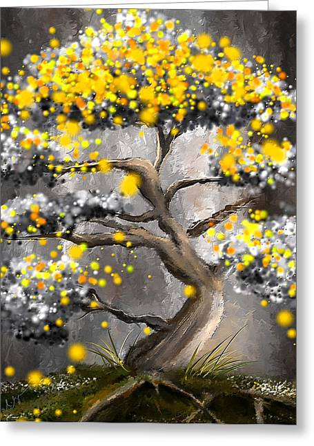 Yellow And Gray Abstract Greeting Cards - Sun Showers - Yellow And Gray Art Greeting Card by Lourry Legarde