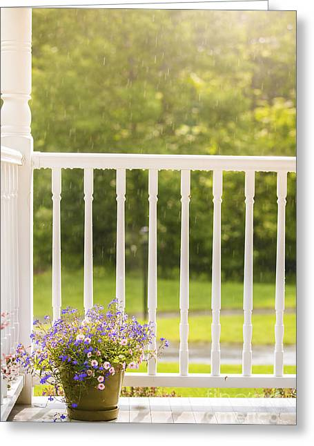 Porch Greeting Cards - Sun Showers Greeting Card by Diane Diederich