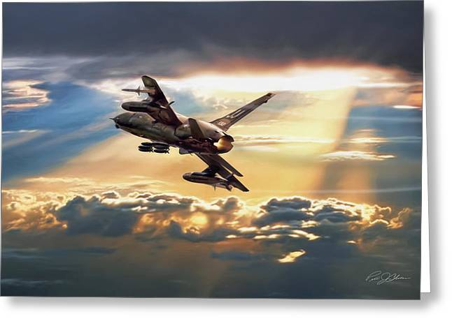 Era Digital Greeting Cards - Sun Split Clouds Greeting Card by Peter Chilelli