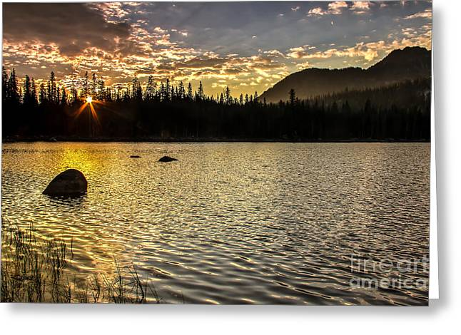Haybale Greeting Cards - Sun Star Over The Lake Greeting Card by Robert Bales