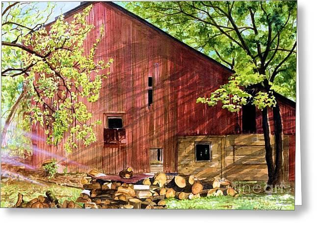 Pennsylvania Barns Greeting Cards - Sun Stroked Greeting Card by Barbara Jewell