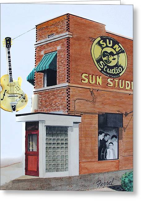 Rock N Roll Greeting Cards - Sun Studio Greeting Card by Ferrel Cordle