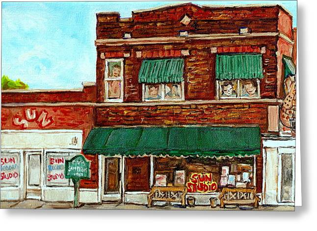 Tennessee Landmark Paintings Greeting Cards - Sun Studio Memphis Birthplace Of Rock N Roll Street Scene Paintings Tennessee Attractions C Spandau Greeting Card by Carole Spandau