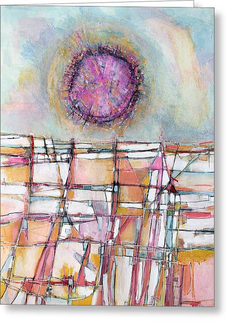 Sun And City Greeting Card by Hari Thomas