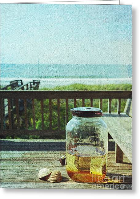 Blue Green Wave Greeting Cards - Sun Tea at the Beach Greeting Card by Kay Pickens