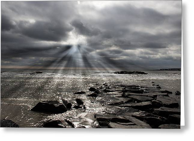 Townsends Inlet Greeting Cards - Sun Thru The Clouds Greeting Card by Tom Gari Gallery-Three-Photography