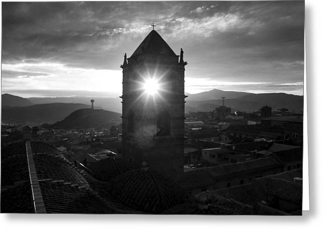 Bolivia Guide Greeting Cards - Sun Tower Of Potosi Black And White Greeting Card by For Ninety One Days