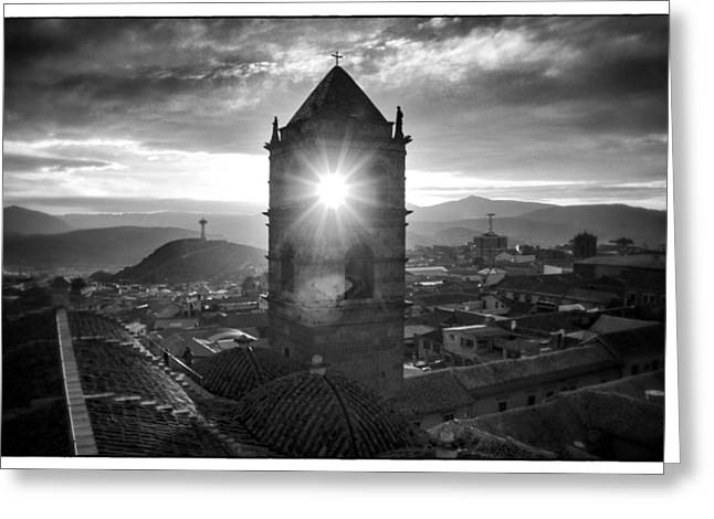 Bolivia Guide Greeting Cards - Sun Tower Of Potosi Black And White Framed Greeting Card by For Ninety One Days