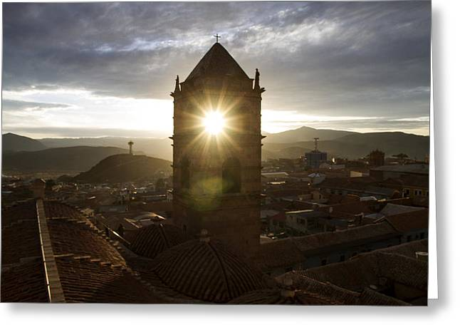 Bolivia Guide Greeting Cards - Sun Tower Of Potosi Greeting Card by For Ninety One Days