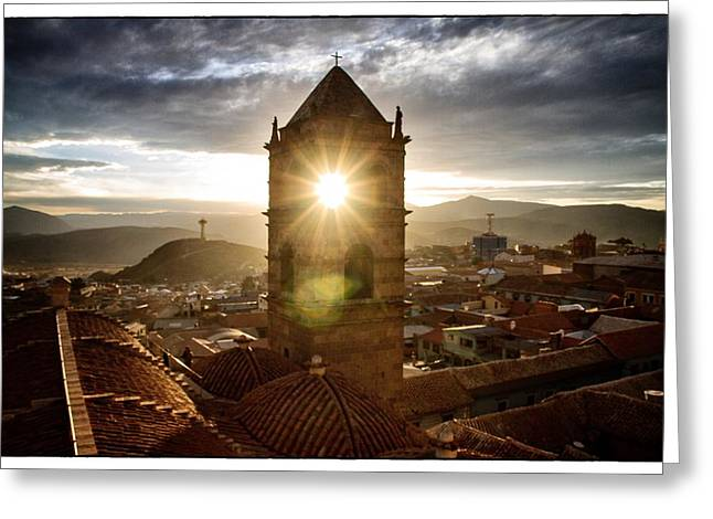 Bolivia Guide Greeting Cards - Sun Tower Of Potosi Framed Greeting Card by For Ninety One Days
