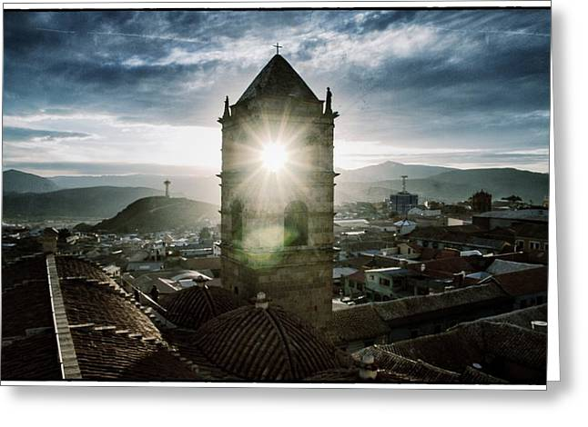 Bolivia Guide Greeting Cards - Sun Tower Of Potosi Vintage Greeting Card by For Ninety One Days