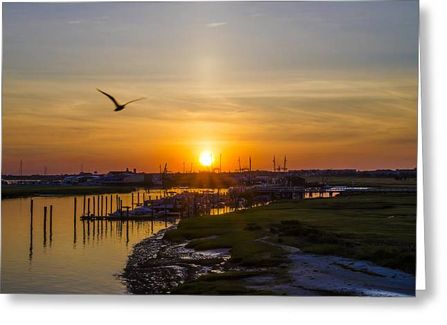 Docked Boats Digital Greeting Cards - Sun Up at Two Mile Landing - Wildwood Crest Greeting Card by Bill Cannon