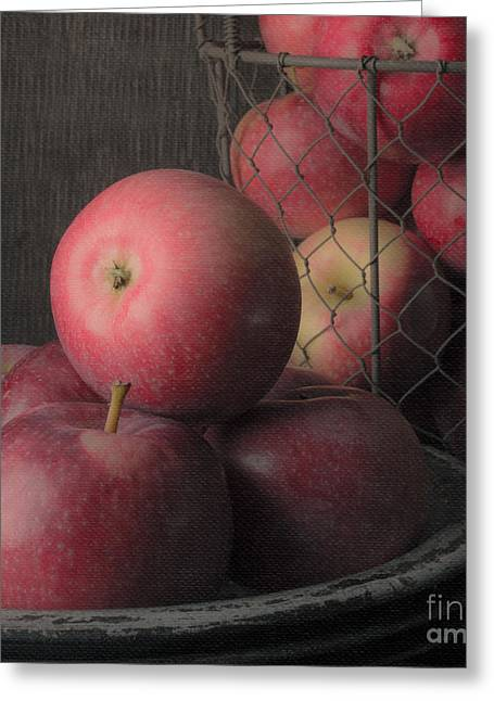 Aspect Greeting Cards - Sun Warmed Apples Still Life Square Greeting Card by Edward Fielding