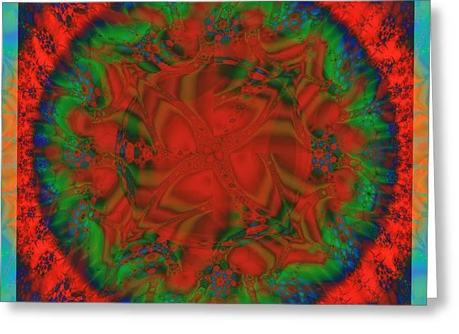 Fractal Orbs Greeting Cards - Sun / Wheel Greeting Card by Elizabeth McTaggart