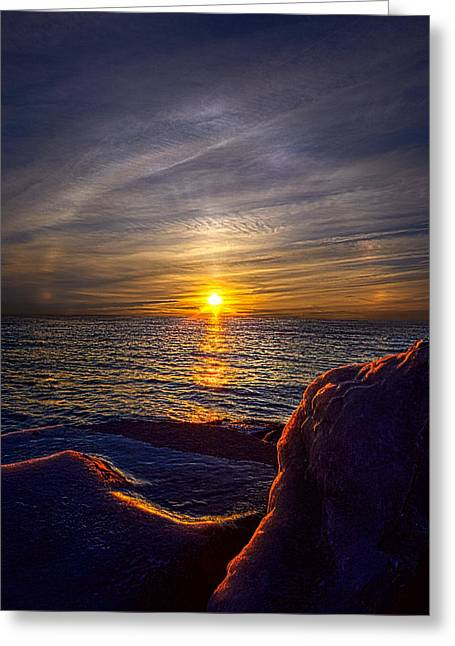 Geographic Greeting Cards - Sun Wreath Greeting Card by Phil Koch