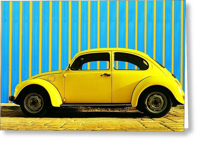 Sun Yellow Bug Greeting Card by Laura Fasulo
