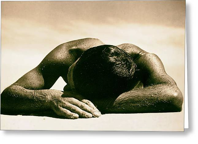 Sweating Photographs Greeting Cards - Sunbaker Greeting Card by Max Dupain