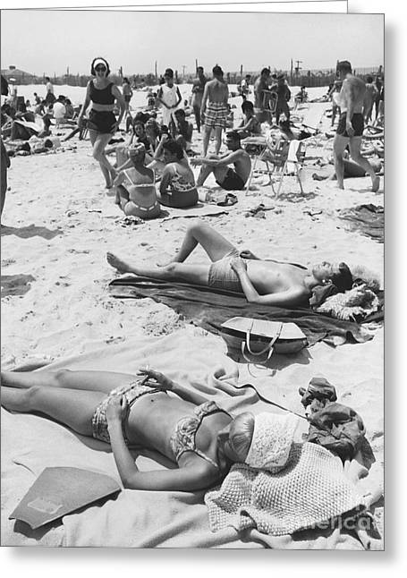 Sunbathing Greeting Cards - Sunbathers, 1963 Greeting Card by Suzanne Szasz