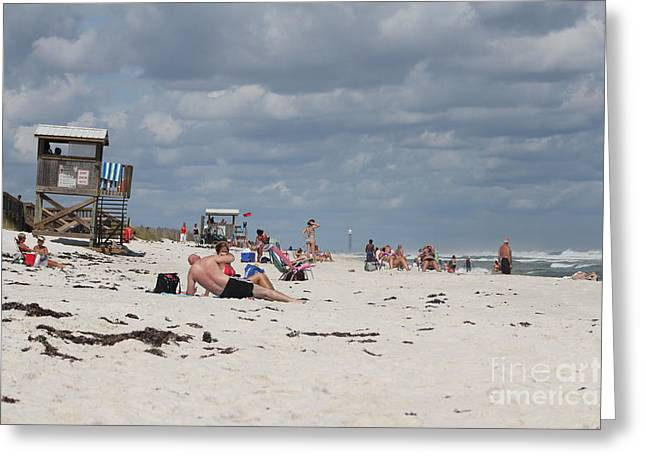 Pensacola Fishing Pier Greeting Cards - Sunbathers Greeting Card by Michelle Powell
